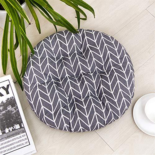 Glitzfas - set di 2 cuscini per sedie, rotondi, in cotone e lino, per interni ed esterni, wellenstreifen, diametro 40 cm