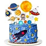 MMTX Toppers para Tartas Decoraciones Cumpleaños Niño de Pastel de Espacio Astronauta Ideal para Happy Birthday Cumpleaños Ni