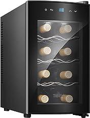 Tibek Weinkühlschrank, 25 Liter Volumen 8 Weinflaschen Tempratur 8-18℃, Schwarz