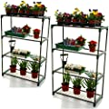 2x Marko Gardening 4 Tier Greenhouse Staging Shelving Plant Storage Shelves Shed Balcony Portable