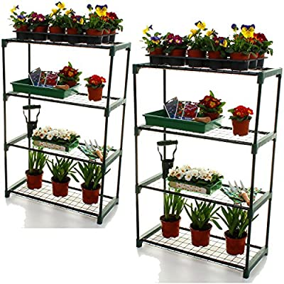 2x Marko Gardening 4 Tier Greenhouse Staging Shelving Plant Storage Shelves Shed Balcony Portable - cheap UK light store.