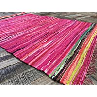 Fair Trade-Tappeto messicano, Hot Pink & strisce multicolore, 120 cm x 180 cm