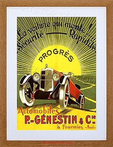 AD GENESTIN AUTOMOBILE CAR RETRO CLASSIC SUN FRANCE FRAMED PRINT F97X2317
