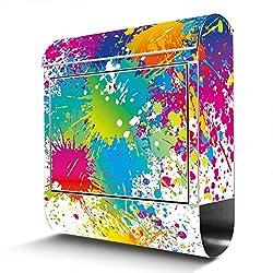 BANJADO Edelstahl Briefkasten mit Zeitungsfach | Design Motivbriefkasten | Briefkasten 38x43x12cm groß | Postkasten mit Montagematerial | 2 Schlüssel Motiv Farbspritzer