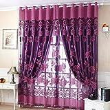 Pantallas de cortina de flores brillantes de - morado oscuro