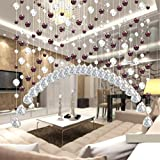 Jimmkey Crystal Glass Bead Curtain Luxury Living Room Bedroom Window Door Wedding Decor,Window Treatment Bedroom Curtains Blackout Ready Made Eyelet Blackout Curtains for Livingroom Voile Door Window Curtain Drape Panel Sheer Scarf Valances (Length:1M, Colorful E)