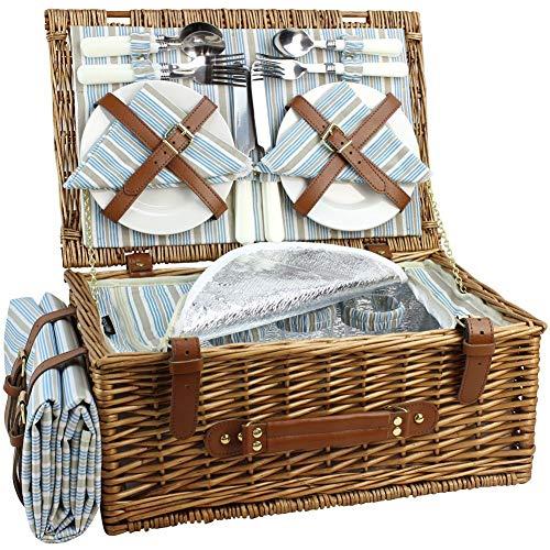 HappyPicknickkorb aus Weidengeflecht für 4 Personen, großer Weidenkorb mit großem isoliertem Kühlfach, kostenlose wasserdichte Decke und Besteck Service Kit-Klassical Braun