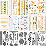 Tatuaggi temporanei per adulti donne bambini (15 fogli), Konsait impermeabile metallico tatuaggi temporanei adesivi tatoo braccio spalla petto e schiena, 200+ tipi in oro nero argento