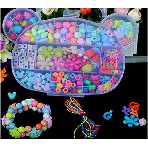 EQLEF® 380 pezzi Colorful Beads bambini Gioielli fai da te contenitore di braccialetto del kit prima infanzia giocattoli educativi