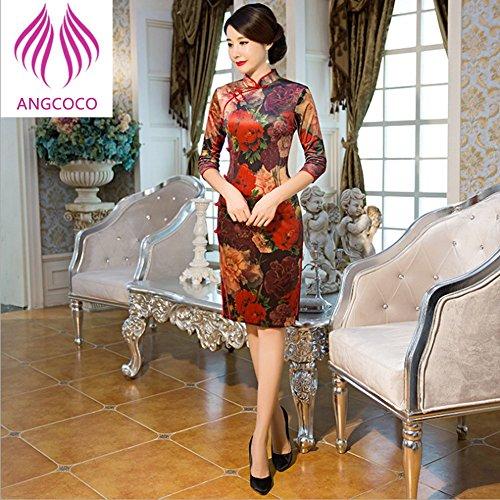 Angcoco Women's Half Sleeve Velvet Cheongsam Mini Dress China Qipao #0477