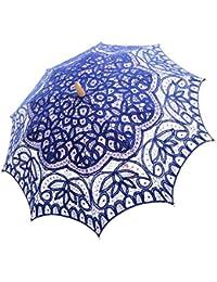 Topwedding ombrelle de mariage en coton avec des dentelles et poignee longue en bois
