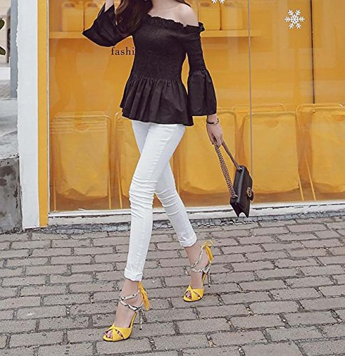 Tassel Pendentif Stiletto Heel Serpentine Peep Toe OL Bureau Femmes Travail Chaussures Yellow