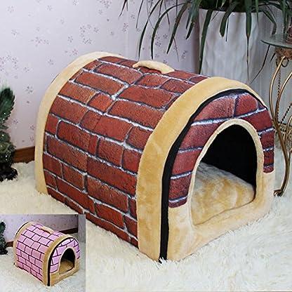 FamilyMall Warm Soft Fleece Pet Dog Cat Bed House with Mat Soft Pad Mat 1