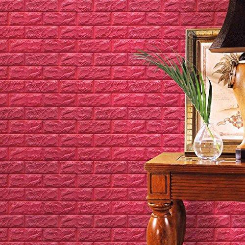 Jaminy PET-Schaum-3D Tapete DIY Wand-Aufkleber-Wand-Dekor prägeartiger Ziegelstein (60 X 60 X 0.8cm) (Hot Rosa)