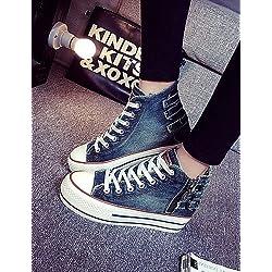 Sneakers Scarpe da ginnastica Outddor/Casual Denim Jeans Plateau Plateau/Creepers/rundesc huhe Sneakers Blu/Blu Navy, us8/eu39/uk6/cn39
