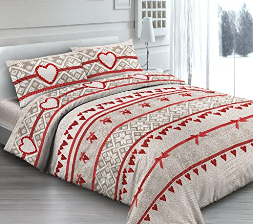 Smartsupershop Housse de Couette avec taies d'oreiller pour lit Double – Rêve Romantique – Cœurs Rouge Petit Coeur – Y Compris sous en uni de Couleur Rouge – en Coton Fabriqué en Italie