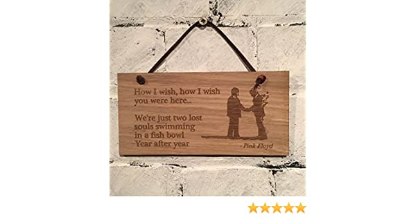 """PINK FLOYD /""""WISH YOU WERE HERE/"""" POSTER PLAQUE*SHABBY CHIC*VINTAGE*WOODEN SIGN"""