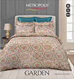Metropolis Garden Cotton Mercerised 150 TC Double Bedsheet with 2 Pillow Covers 90 x 100 inch , Caramel Multicolor Rangoli Colors