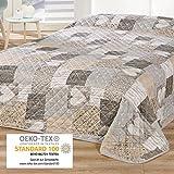 Delindo Lifestyle® Couvre-lit COEUR / Jeté de Lit / pour lit double / patchwork marron / 220x240 cm