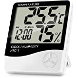 Lanhiem Inomhus digital termometer hygrometer, exakt rumstemperaturmätare fuktighetsmätare med väckarklocka - lätt att läsa,