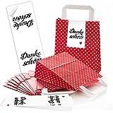 10 rote Papiertüten Papier-Tragetaschen Henkel-Tüten mit weißen Punkten mit Boden (18 x 8 x 22 cm) kleine Papiertaschen mit Aufkleber Banderole DANKE-SCHÖN mit rotem Herz