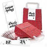 ABVERKAUF ANGEBOT: 10 rote Papiertüten Papier Tragetaschen Henkel Geschenktüten Tüten mit weißen Punkten mit Boden (18 x 8 x 22 cm) kleine Papiertaschen mit Aufkleber DANKE Dankeschön rotes Herz