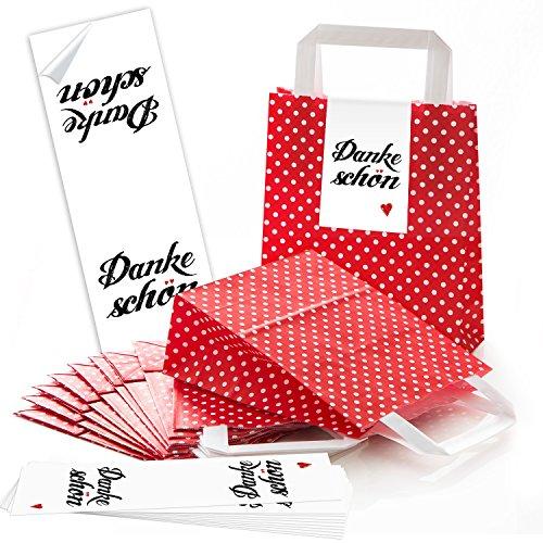 ABVERKAUF ANGEBOT: 10 rote Papiertüten Papier Tragetaschen Henkel Geschenktüten Tüten mit weißen Punkten mit Boden (18 x 8 x 22 cm) kleine Papiertaschen mit Aufkleber DANKE Dankeschön rotes Herz (Tragetasche Rote)