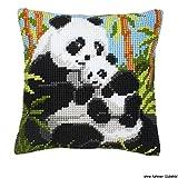 Kit coussin au point de croix Famille de pandas