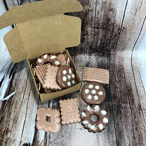 Scatolina con 5 tart al cappuccino e cacao per bruciaessenze o profumatori in cera di soia e olio essenziale piccoli biscotti regalo di natale decorazione casa