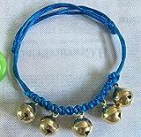 Hund Katze Kragen 5 Glocken Halskette Schmuck Hundehalsband für kleine Welpen (gelb und blau) Geschenke für Haustiere