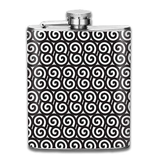 Stainless Steel Flask Black And White Spiral Wine Bottle With Lid Leak Proof 7 Ounce