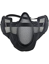 Airsoft Magic Mesh Lower Face & Ear Protection Half Face Mask for Airsoft–Black