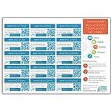 mobycards 15 QR-Code Sticker Bogen (A5) - 15 Sticker zum erweitern von Postkarten, Geschenken und Grußkarten mit digitalen Botschaften mit eigenen Fotos, Videos, Audios, Texten und mehr. Auch Einträge in Notizbüchern, Fotobüchern, Tagebüchern usw. können um digitale Inhalte erweitert werden.
