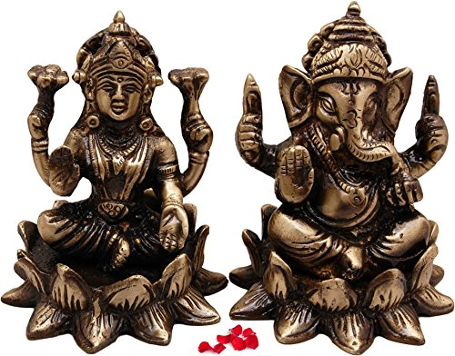 Two Moustaches Brass Laxmi Ganesh Idol On Lotus Set