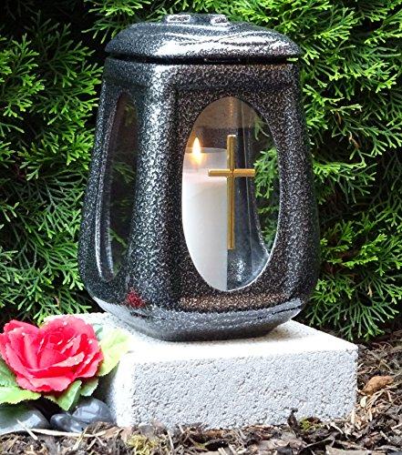 ♥ GRABLAMPE MIT SOCKEL UND GRABKERZE KERAMIK SILBER GLAS KREUZ HERZ GRABDEKORATION GRABLATERNE GRABLICHT GRABSCHMUCK GRABLEUCHTE LATERNE LAMPENSOCKEL HERZ
