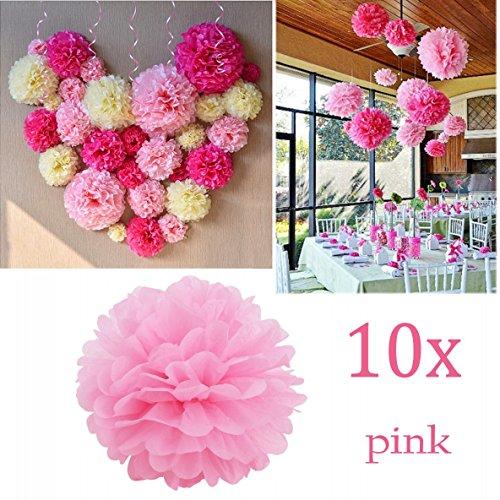 Jzk 10 rosa pom pom carta velina 25 cm decorazioni festone per matrimonio compleanno battesimo natale halloween laurea nascita comunione addobbi pompon pon pon