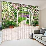 Eqwr Gartentor-Foto Der Weißen Blume, Das Warme Schlafzimmervorhänge Druckt H210 * W280 cm