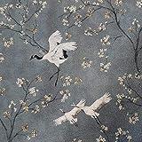 Stoff Meterware Baumwolle Kranich Kirschblüten grau Vogel