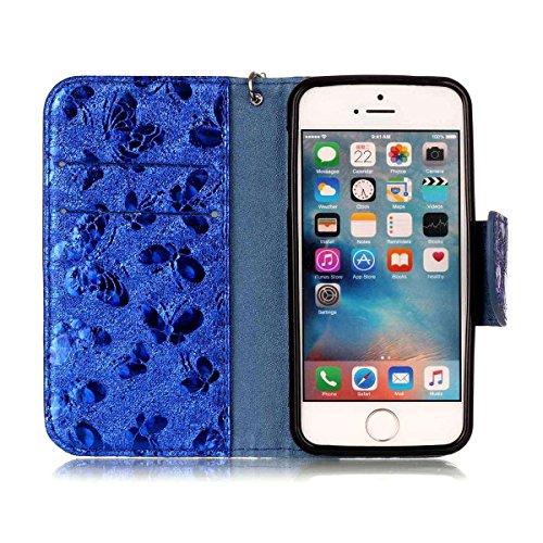 iPhone 5 Hülle, SHUNDA Brieftasche Schutzhülle Flip Leder Handyhülle mit Kippständer Bling Schmetterling Bookstyle Handycover für iPhone 5 / 5S / SE - Golden Blau