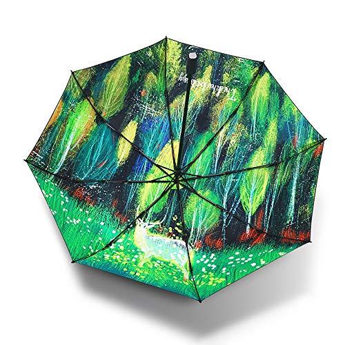 HEYG-Rain Gear Regenschutz Outdoor Funktionstasche Regenfest Acht Knochen Hirsch DREI Falten Wasserabweisend Schöner Sonnenbrand Handlicher Regenschirm mit leichtem Bezug Taschenschirm Sommer -