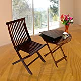 Santosha Decor Sheesham Wood Folding Chair and Round Coffee Table | Dining Table Set | Laptop Table/Breakfast Table (Red Mahogany Finish) Special PU Polish