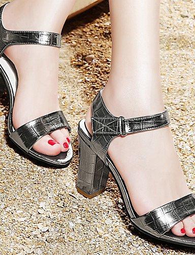 LFNLYX Chaussures Femme-Mariage / Bureau & Travail / Habillé / Décontracté / Soirée & Evénement-Noir / Argent-Gros Talon-Bout Ouvert-Sandales- Silver
