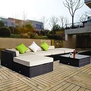 salon de jardin canape d 39 angle resine tresse poly rotin brun 18 pcs neuf 99 jardin. Black Bedroom Furniture Sets. Home Design Ideas