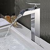 Tougboo Premium Forme Unique en cuivre poli Chrome seul trou Cascade pour lavabo de salle de bain robinet mitigeur Robinets