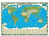 Illustrierte Weltkarte Tiere zum Aufhängen: mit Metall-Beleistung