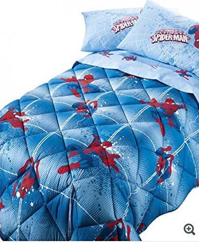 Trapunta spiderman power caleffi piazza mezzo azzurro cm.220x265 -peso invernale -tessuto microfibra