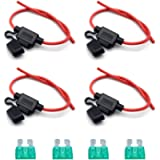 4 Pcs Car Inline Blade Fuse Holder Waterproof 30A Wire Cable with Fully Molded Housing (Fuse is included)