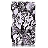 Galaxy J7 2016 Case Leather [Free USB Charging Cable], ESSTORE-EU Cartoon Pattern PU Leather Stand Function with Card Slot Holder Wallet Book Design Case for Samsung Galaxy J7 2016, Moon Tree