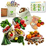 Joynez Wiederverwendbare Obst- und Gemüsebeutel, nachhaltige Bio-Baumwolle, Set Einkaufsnetze inkl. Brot-Stoffbeutel (7er Set)