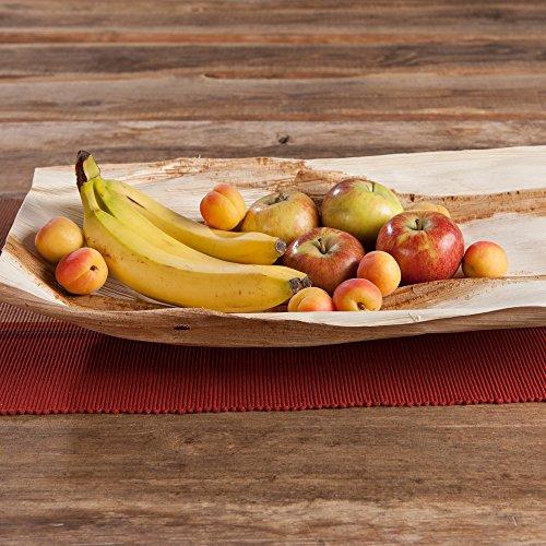 kaufdichgrün 5x Deko Palmblatt | Fingerfood Teller | 100% natur | unbeschichtet | biologisch abbaubar, kompostierbar | individuelle, dekorative Maserung | stabil und robust | individuell - 4